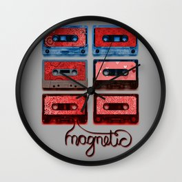 Magnetic - funky patterned mix tapes Wall Clock