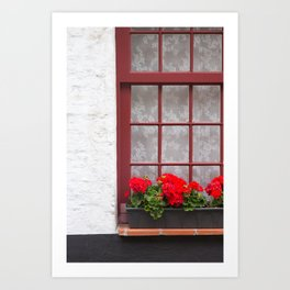 Red window with flowers, Bruges Art Print