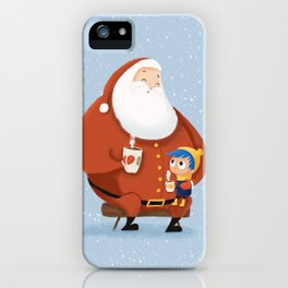 Santa & little boy // Hand drawn Christmas art iPhone Case
