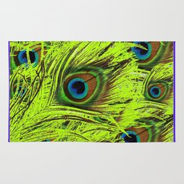 PURPLE ART NOUVEAU GREEN PEACOCK FEATHERS ABSTRACT ART Rug