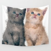 kittens Wall Tapestries featuring Geometric Kittens by lauramaahs