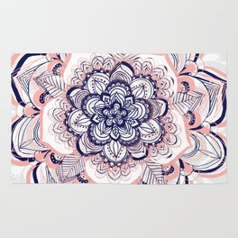 Woven Dream - Mandala in Pink, White and deep Purple Rug