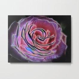 Pink rose Fractalius Metal Print