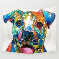 pit bull Wall Tapestries featuring Colorful Dog Pit Bull Art - Happy - By Sharon Cummings by Sharon Cummings