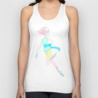 enerjax Tank Tops featuring Pearl - Crystal Gems by enerjax