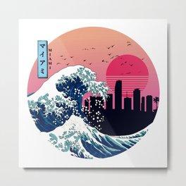 Miami Kangawa Wave Retro Metal Print