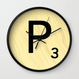 Scrabble P - Large Scrabble Tile Letter Wall Clock