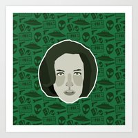 scully Art Prints featuring Dana Scully by Kuki