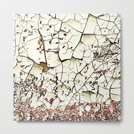 Cracked Paint White Textured Abstract Metal Print