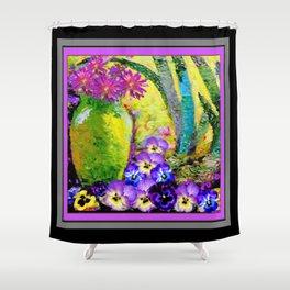 Chartreuse-Violet art Vase Pansies Floral Painting Shower Curtain