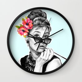 Audrey Hepburn With Flowers - 7 Wall Clock