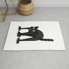 Black Cat Funny Halloween Horror Scary Rug