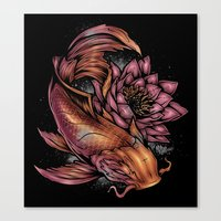 koi fish Canvas Prints featuring Koi Fish by Absorb81