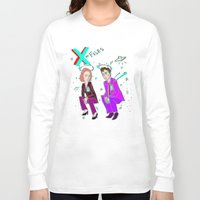 mulder Long Sleeve T-shirts featuring Mulder & Scully glitch  by Paisleysaurus