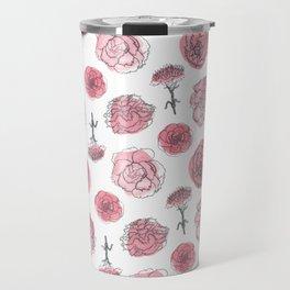 Pink Carnation Pattern Travel Mug