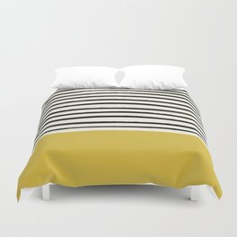 Mustard Yellow & Stripes Duvet Cover
