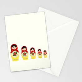 Red russian matryoshka nesting dolls Stationery Cards