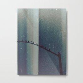Blue Birds on a Telephone Pole Metal Print