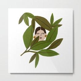 Portrait in the leaves Metal Print