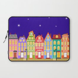 Cute Night Town Cartoon Houses Laptop Sleeve
