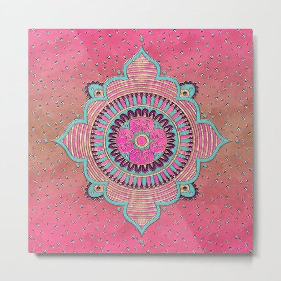 India Pink Mandala Pattern Metal Print