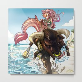 MERMAID RIDING A MINOTAUR Metal Print