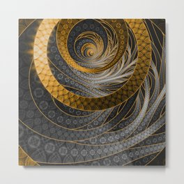 Banded Dragon Scales of Black, Gold, and Yellow Metal Print