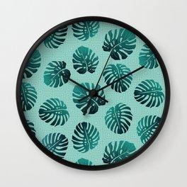 Gradient Monstera Leaves Geometric Background Wall Clock