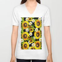 sunflowers V-neck T-shirts featuring Sunflowers by Saundra Myles