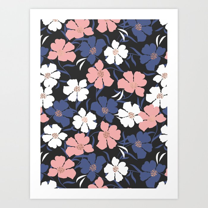 Spring Peony Pattern Art Print by cafelab