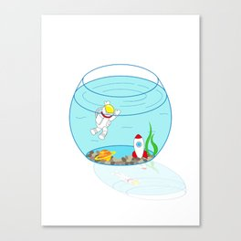 Space Fishbowl | Astronaut Fishbowl | Swimming Astronaut | Space in a Fishbowl | pulps of wood Canvas Print