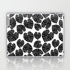 Multi linocut leaves tropical plant indoor house plants black and white pattern lino print dorm room Laptop & iPad Skin