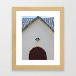 Door to the Little White Church in Denmark  Framed Art Print
