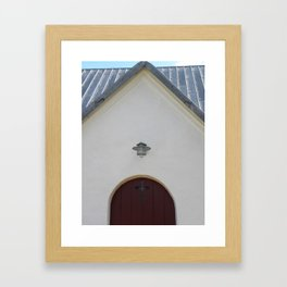 Door to the Little White Church in Denmark  Framed Art Print