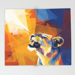In the Sunlight - Lion portrait, animal digital art Throw Blanket