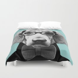 Mr Italian Bloodhound the Hipster Duvet Cover