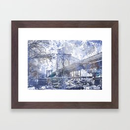 Brooklyn Bridge New York USA Watercolor blue Illustration Framed Art Print