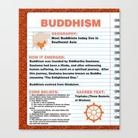 buddhism Canvas Prints featuring Buddhism Poster by Idle Amusement