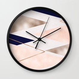Rose gold french navy geometric Wall Clock