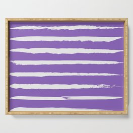 Irregular Hand Painted Stripes Purple Serving Tray