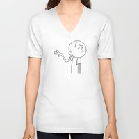 karl V-neck T-shirts featuring Karl Pilkington  by Koichi Endo