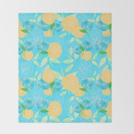 06 Yellow Blooms on Blue Throw Blanket