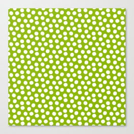 White Polka Dots on Fresh Spring Green - Mix & Match with Simplicty of life Canvas Print