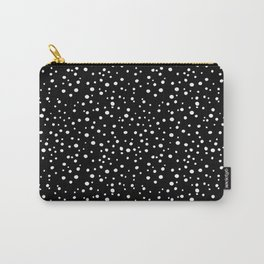 PolkaDots-White on Black Carry-All Pouch