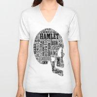 hamlet V-neck T-shirts featuring Shakespeare's Hamlet Skull by MollyW