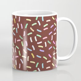 chocolate Glaze with sprinkles. Brown abstract background Coffee Mug