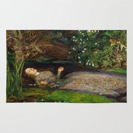 Ophelia from Hamlet Oil Painting by Sir John Everett Millais Rug