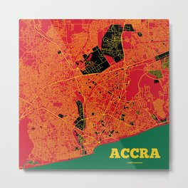 Accra, Ghana street map Metal Print