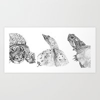 turtles Art Prints featuring Turtles by Heather Rupe Jones