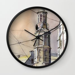 Painting of church in historic center of Amsterdam, Netherlands.  Amsterdam watercolor Wall Clock